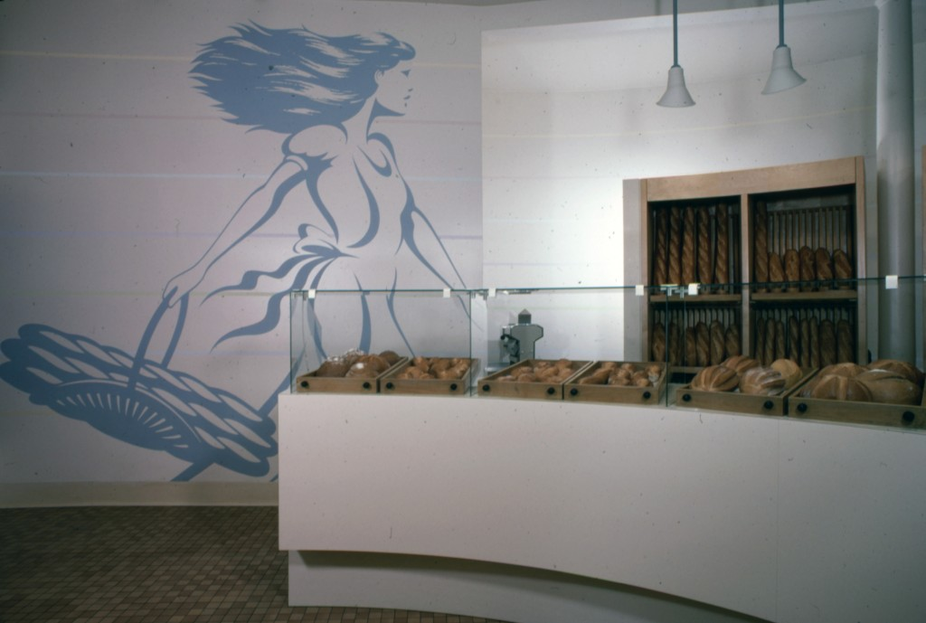 Wall Graphics for Bakers of Paris, San Francisco.  Richard Garnas, designer.  Marshall Johnson Painting.