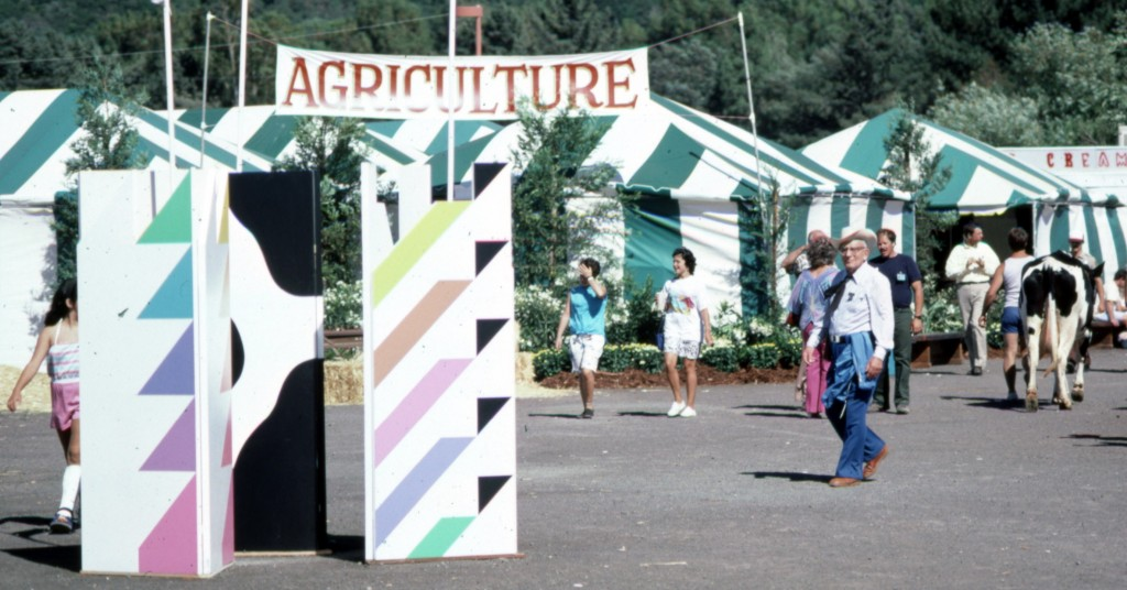 Painted Graphic Kiosks at Marin County Fair.  Stephanie Furniss Design.  Marshall Johnson Painting.