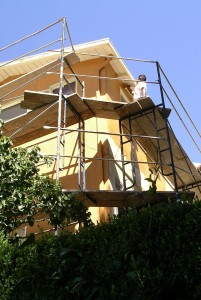 San Rafael, Marin, CA: Exterior Prep is finished; deep yellow C2 brand color goes on